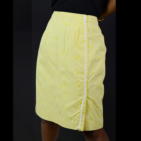Lilly Pulitzer Skirt Vintage Faux Wrap Yellow Floral Size 10