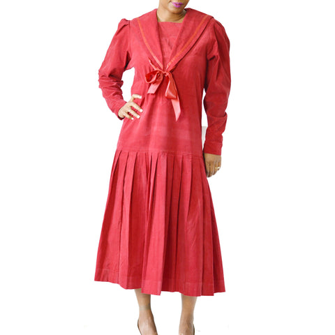 Vintage Laura Ashley Red Corduroy Sailor Dress Size Small