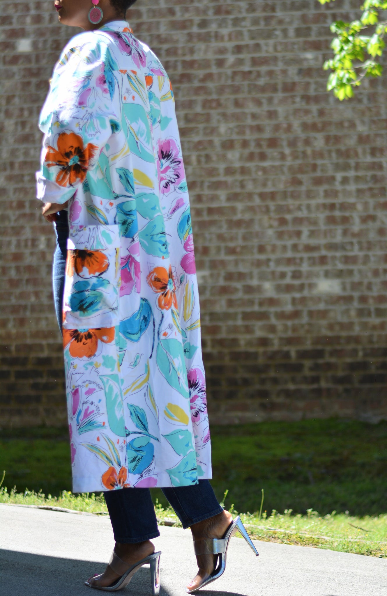 Vintage Giorgio Morandi Duster Painters Lab Coat Size Medium Large Floral Print