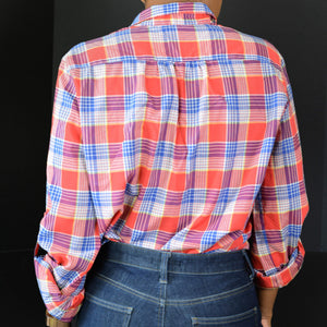 Vintage Levis Shirt Western Plaid Button Front Red Cotton Top Size Small Womens