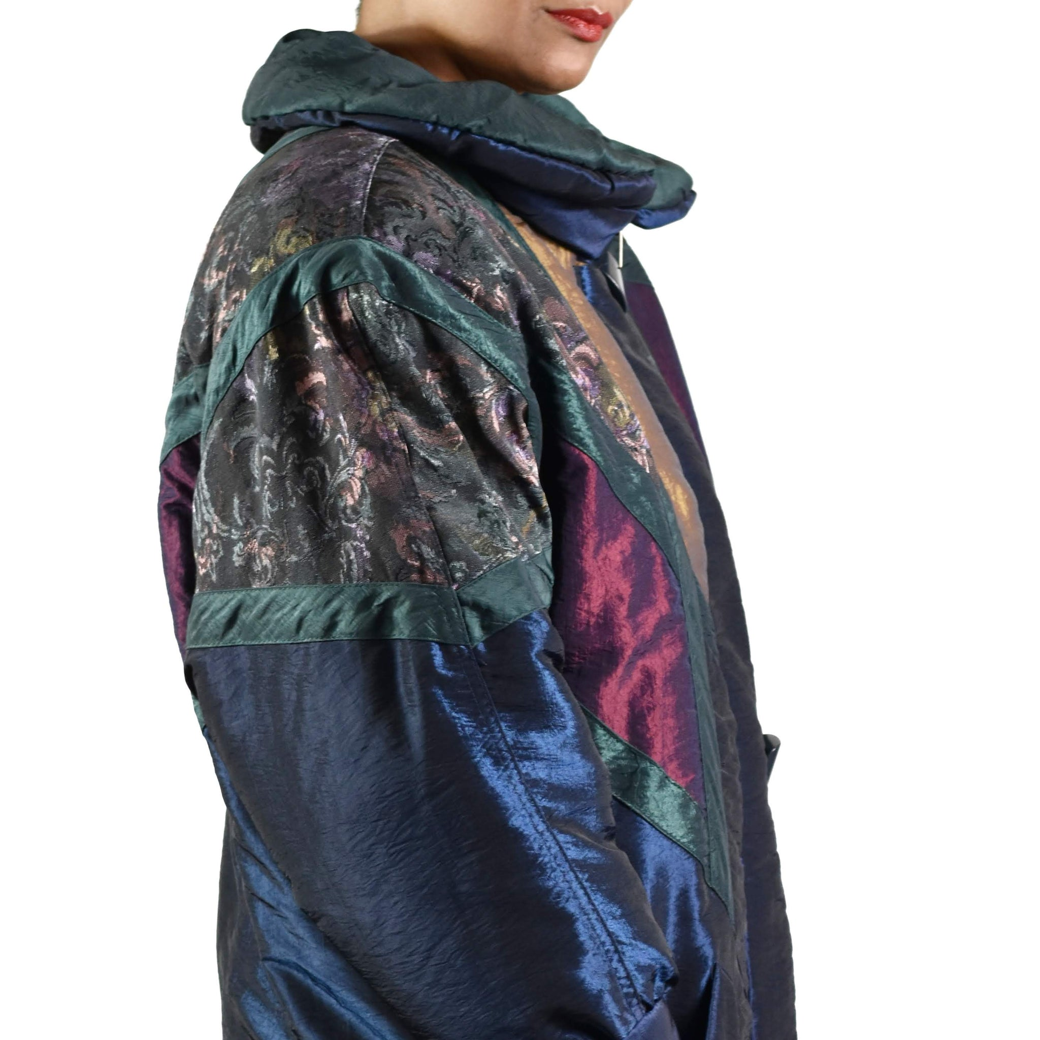Vintage 90s Iridescent Long Puffer Coat Size Small