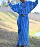 Vintage Fringe Maxi Dress Sybil California Size Small