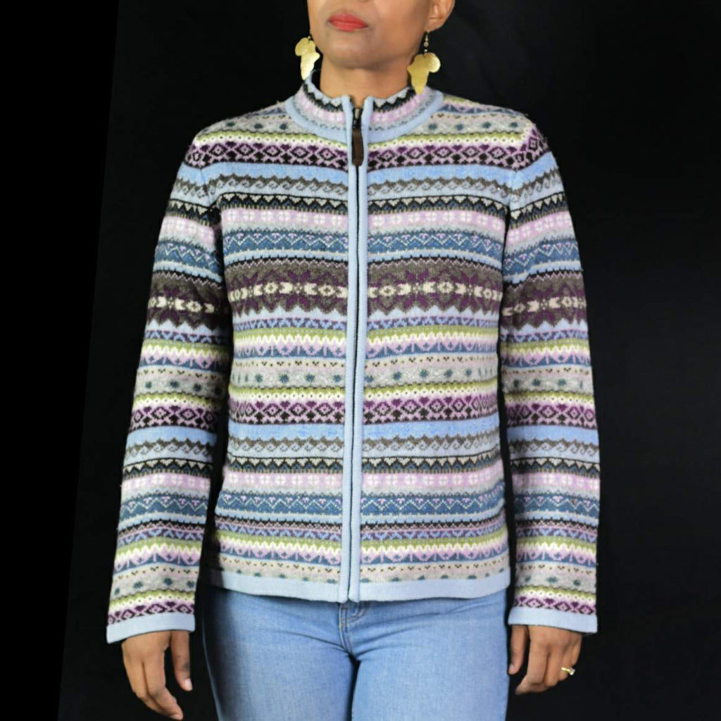 Vintage Laur Ashley Fair Isle Cardigan Sweater Size Medium