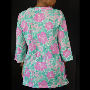 Tibi Sea Island Tunic Top Beach Coverup Floral Tropical Pink Green Size Medium