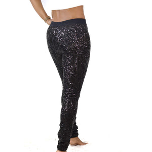 BCBGMaxAzria Selby Leggings Sequin Art Deco Black Mesh Pull On Pants Size Small