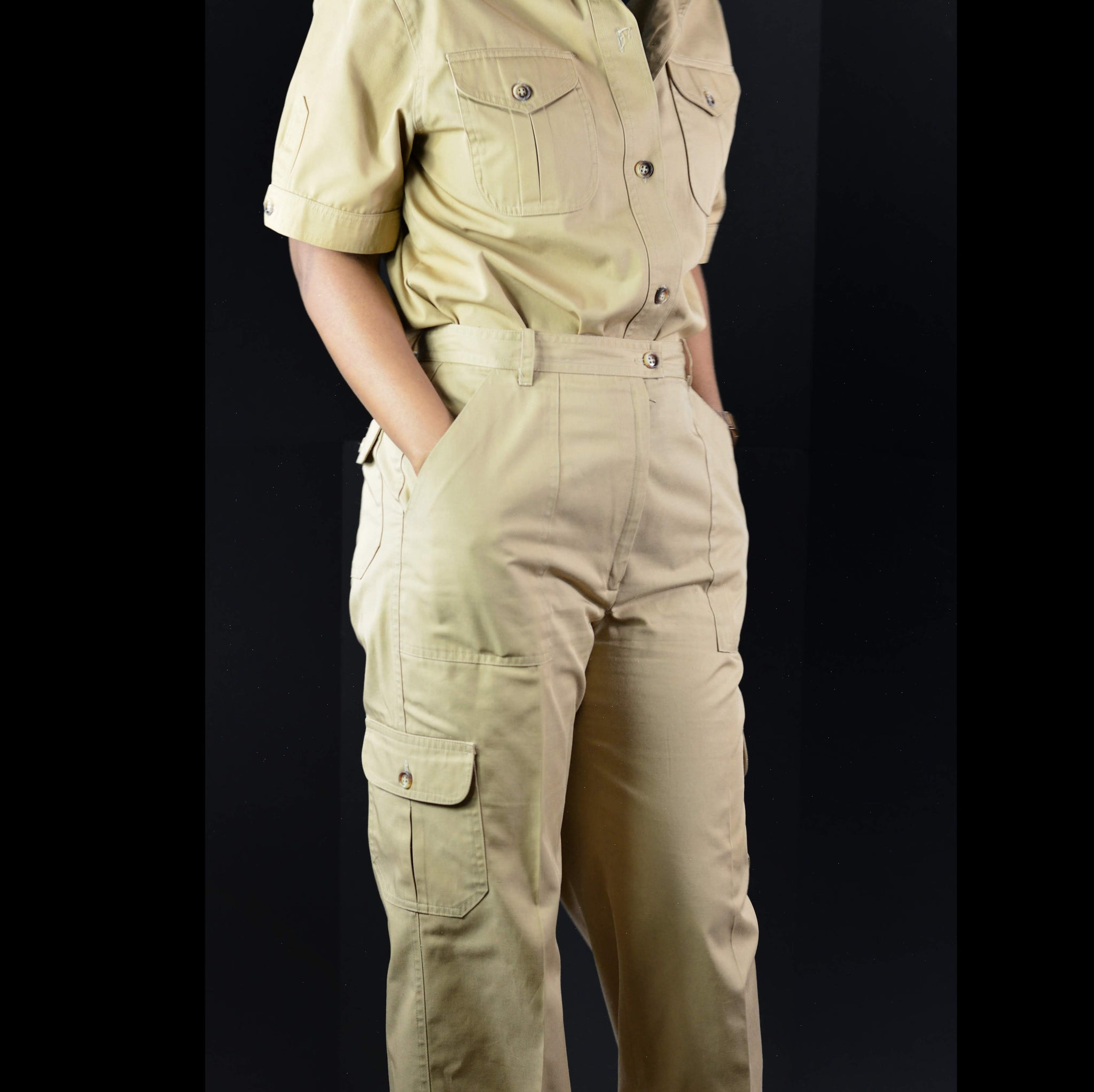 Vintage Utility CoOrd Set Cargo Safari Khaki Breckenridge Pants Shirt Top Size Medium