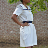 Vintage Sailor Playsuit Nautical Jumpsuit Shorts Romper Size Medium