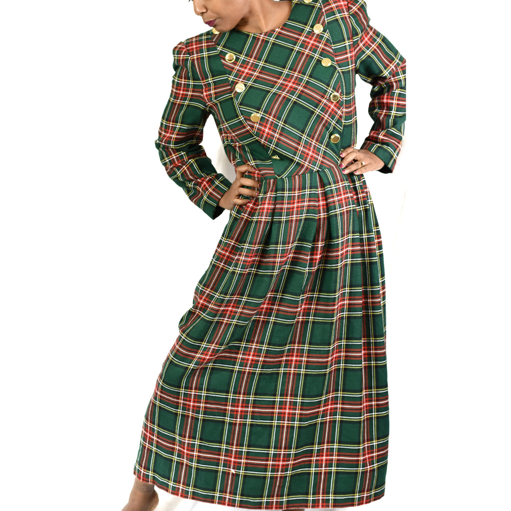 Vintage Tartan Plaid Dress Size 12