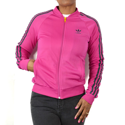 Adidas Track Jacket Pink Magenta Trefoil Size Small