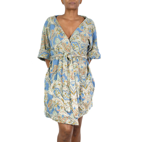 Anthropologie Lilka Cotton Robe Short Lounge Wrap Size Small