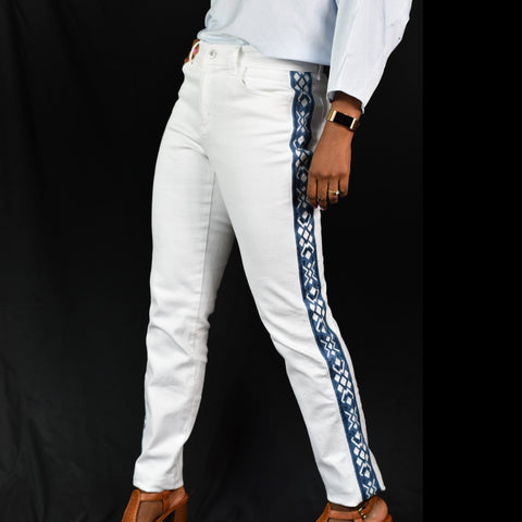 Boston Proper Tribal Tuxedo Stripe White Jeans Size 8