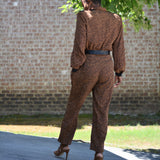 Vintage Leopard Print Jumpsuit Act I Silky Size Small