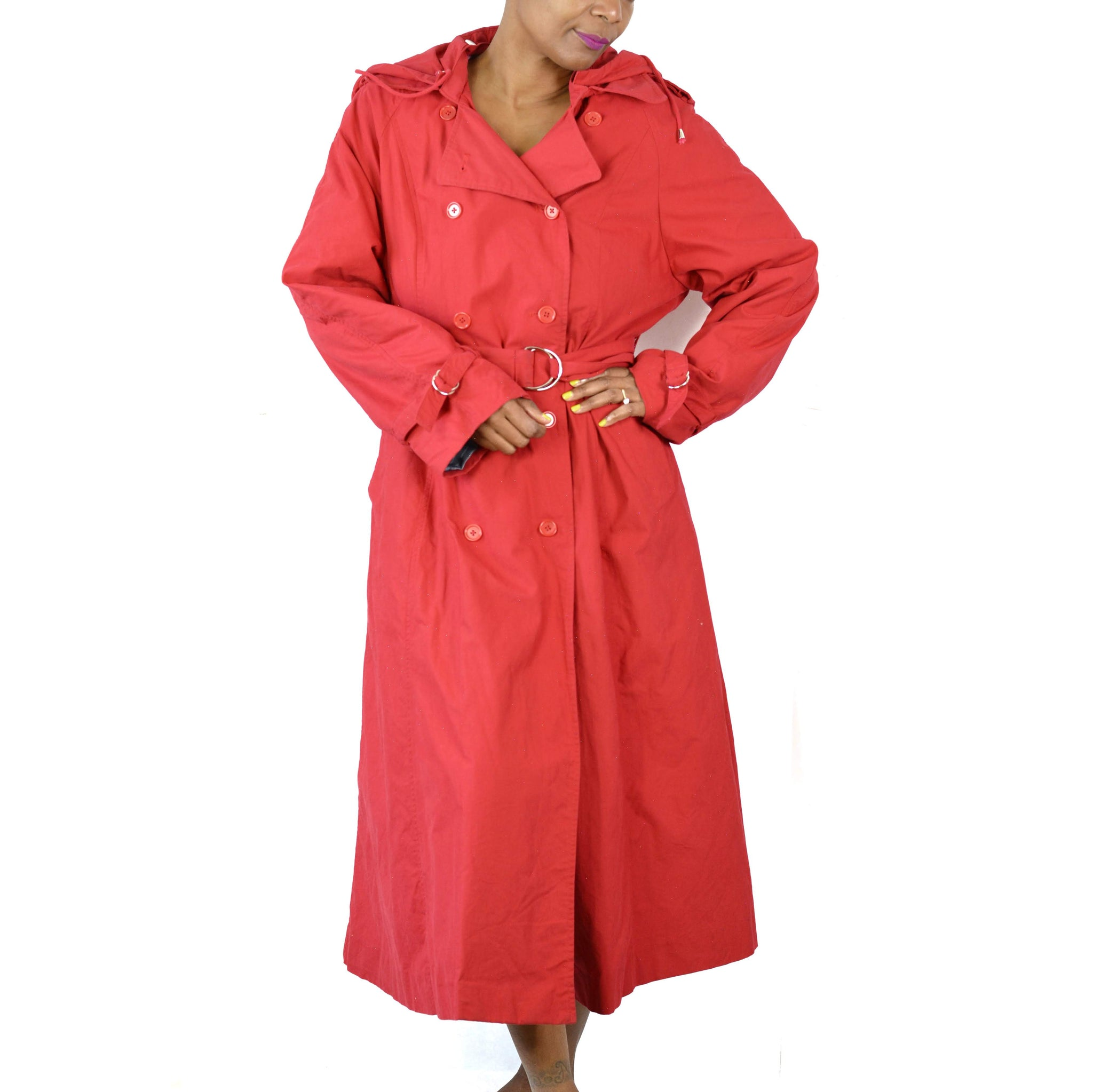J Peterman Hooded Raincoat European Trench Coat Size 14