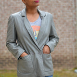 Vintage Leather Blazer Gray Jacket Size Small