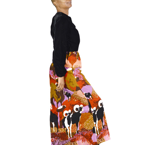 Vintage Lanz Maxi Dress Velvet Sheep Ram Print Size XS