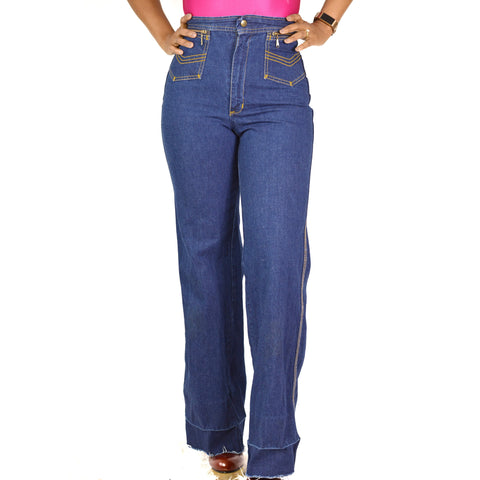 Vintage High Rise Jeans Cotton Denim Wedgie Size 26 0 2