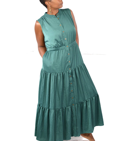 Soft Surroundings Trieste Dress Tiered Maxi Button Front Small Petite