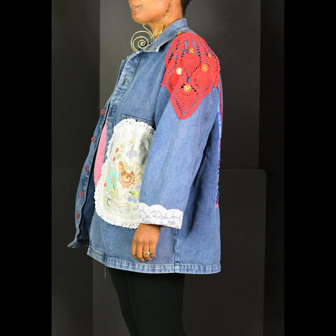 Vintage Custom Denim Jacket Doily Shabby Granny Chic Size Small Medium