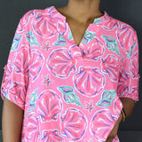 Simply Southern Top Popover Pink Shells Size Small