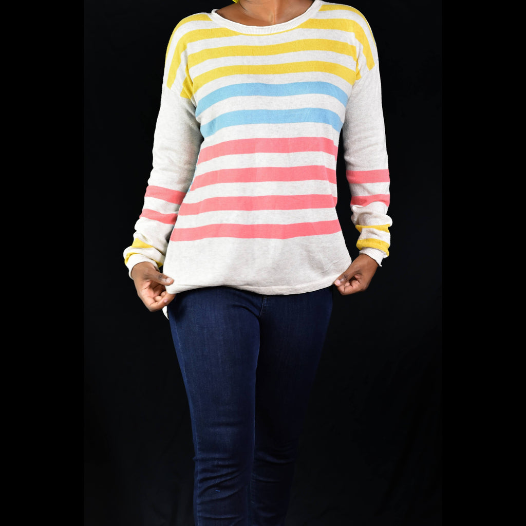 Sundance Catalog Striped Colorblock Sweater Size Large