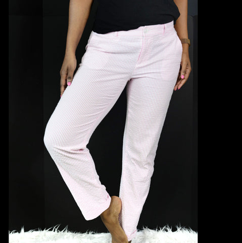 Lauren Ralph Lauren Pink Seersucker Pants Striped Size 2