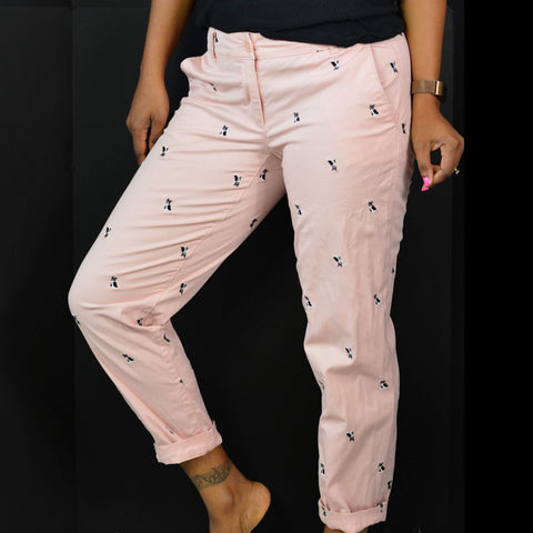 Talbots Boston Terrier Weekend Chinos Pink Puppy Print Pants Size 0P