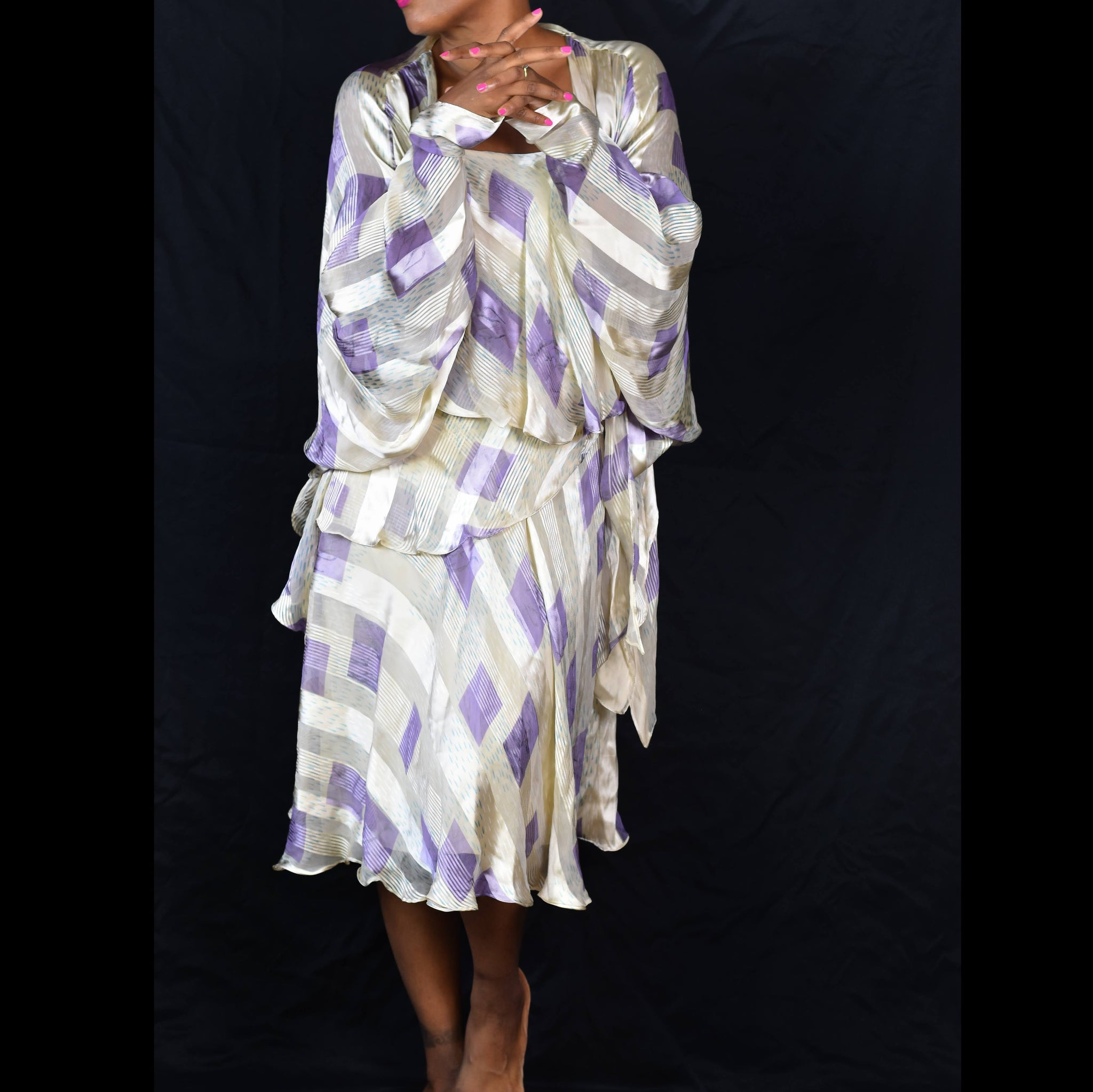 Vintage Icinoo Silk Dress and Jacket Set Size Small