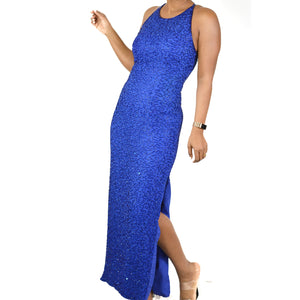 Long Beaded Dress Blue Evening Andretta Donatello Gown Size Small