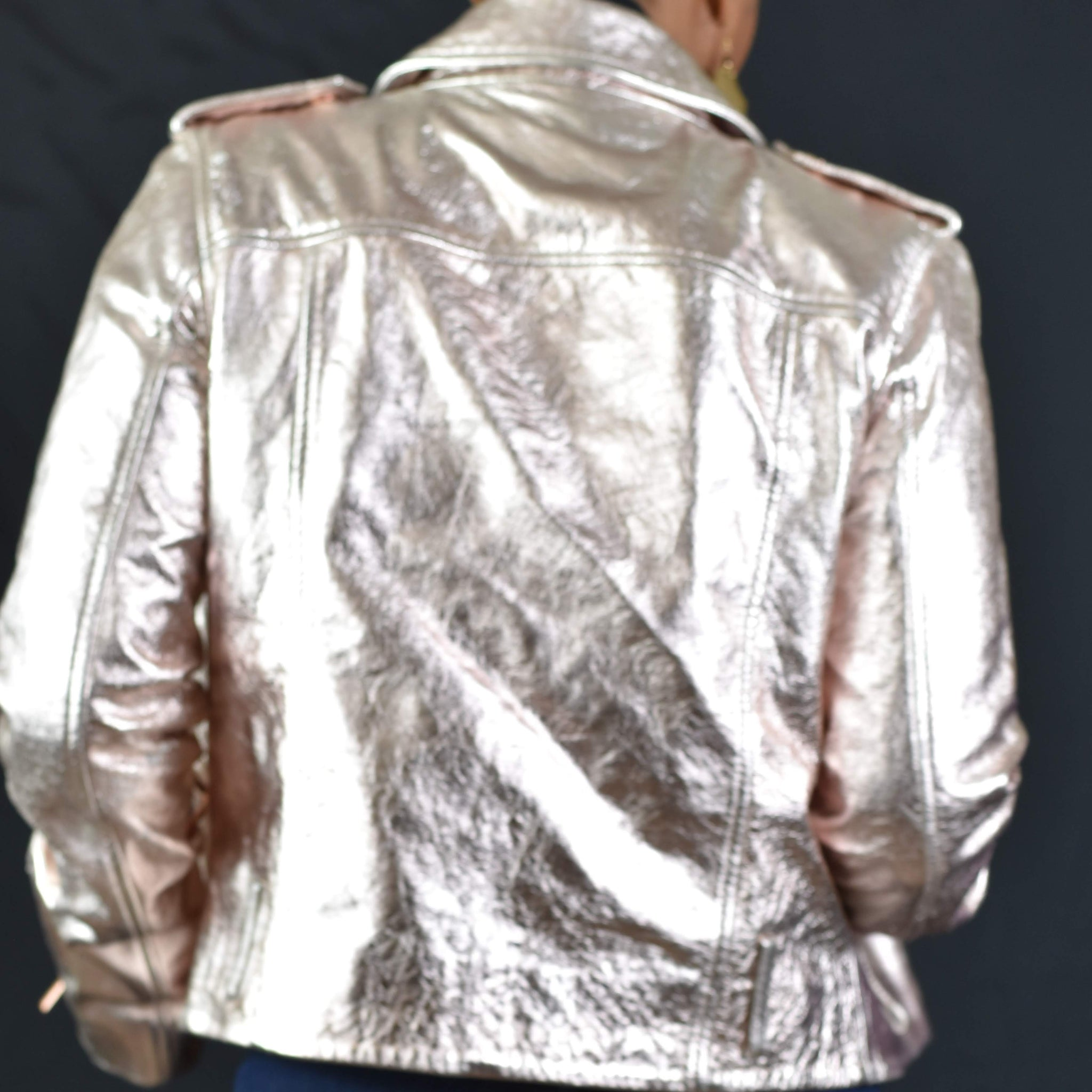 True Religion Rose Gold Leather Moto Jacket Size Medium