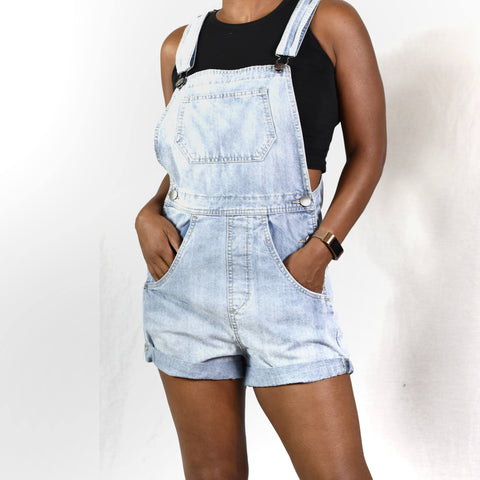 Cotton On Bib Overall Denim Shorts Size 2
