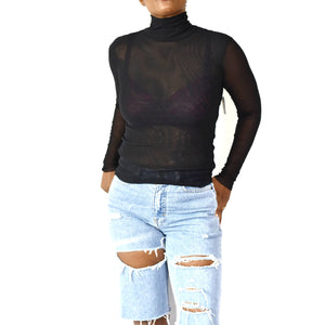 Free People Mesh Turtleneck Size Small