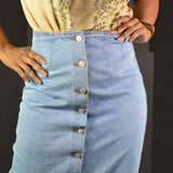 Button Down Skirt Vintage Old Navy Midi Denim Jean Small
