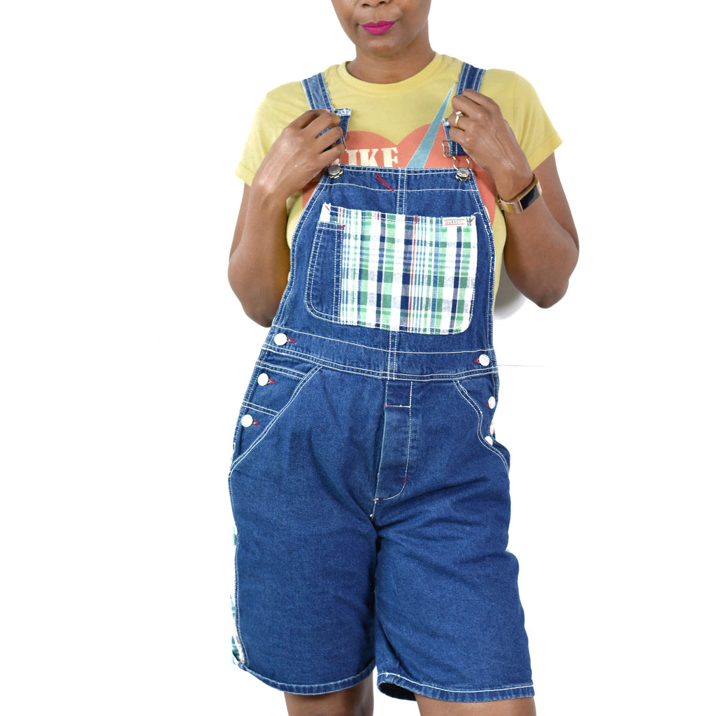 Vintage Guess Bib Overalls Jeans Shorts Shortalls Size Small