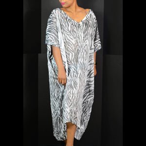 HM Conscious Collection Caftan Dress Zebra Print Sheer Size Medium