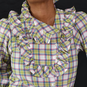 ASOS Bib Front Plaid Shirt Size 2