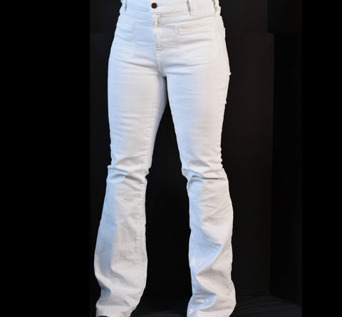 Pilcro Superscript White Jeans High Rise Flare Size 28