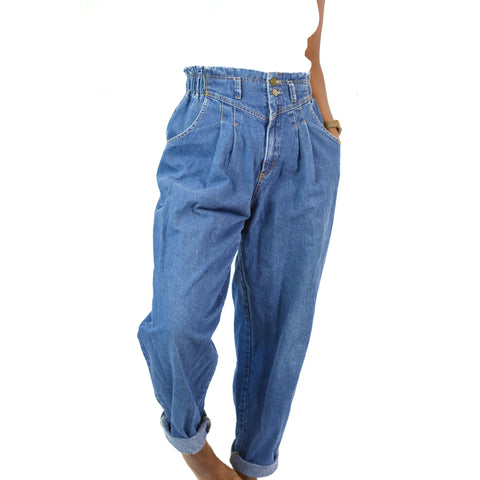 Mom Jeans Vintage Dreams High Rise Baggy Pleated Size 28