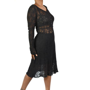 Peruvian Connection Black Crochet Dress Size Medium