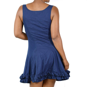 Betsey Johnson Dress Blue Mini Ruffle Tank Small