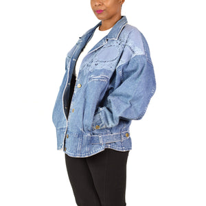 Vintage Jean Jacket Together Denim Coat Size XL
