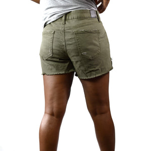 Level 99 Shorts Distressed Olive Green Denim Size 29
