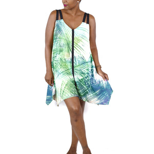 Lulus Gentle Fawn Shift Dress Palm Leaf Trapeze Small