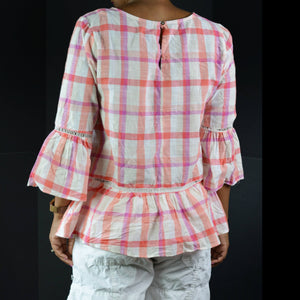 Bobeau Bell Sleeve Plaid Top Blouse Size Small
