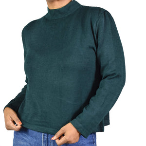 St John Mock Neck Long Sleeve Top