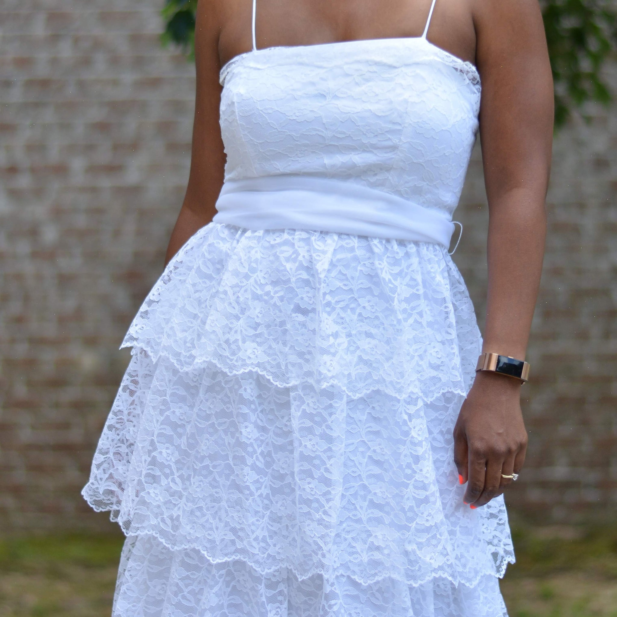 Vintage Tiered Maxi Dress White Lace Size Small