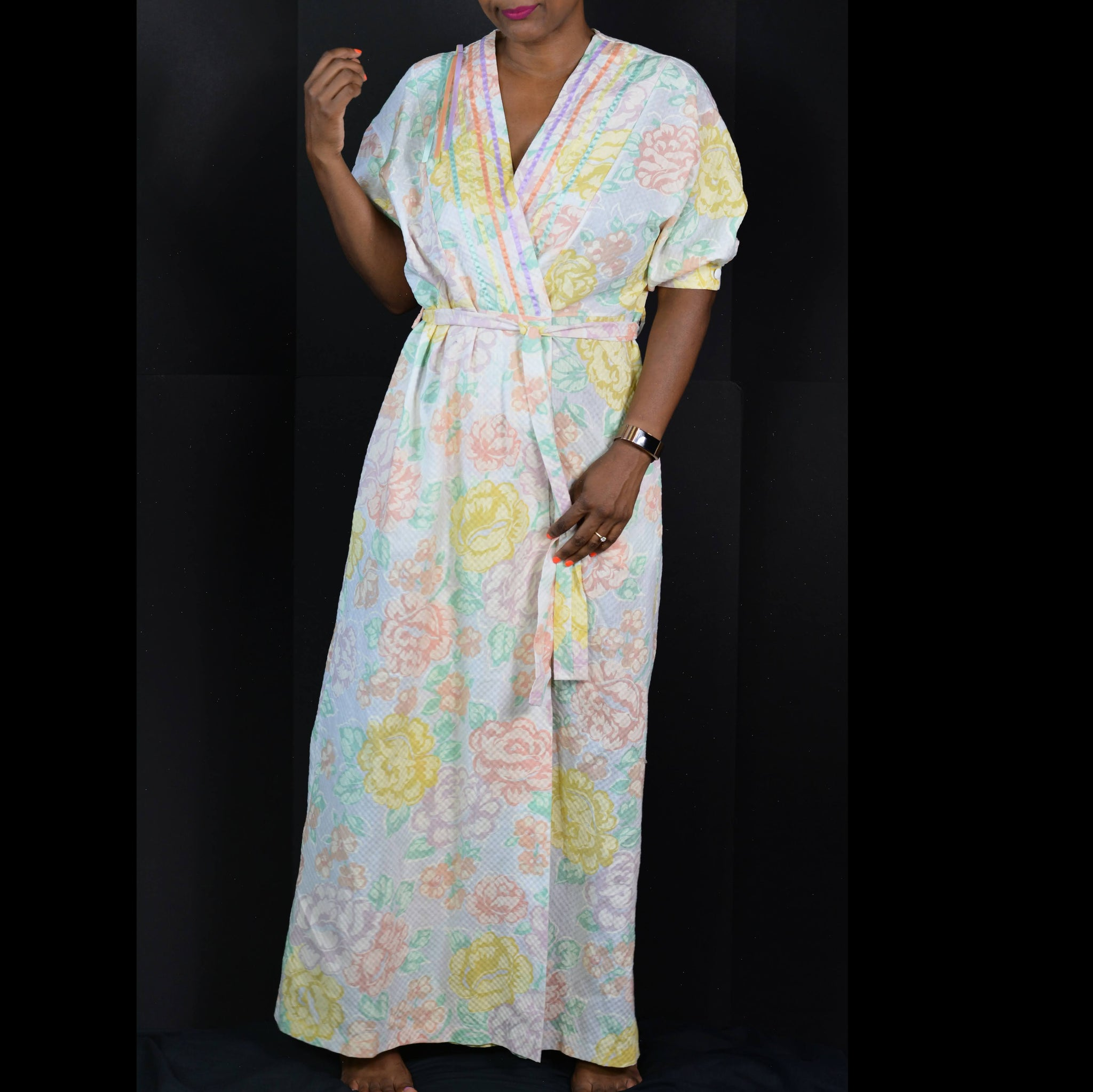 Vintage Wrap Robe Sears at Home Wear Pastel Floral Lounge Size Small