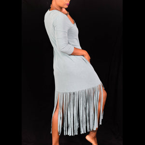 Dahiny Fringe Hem Shirt Dress Size Small