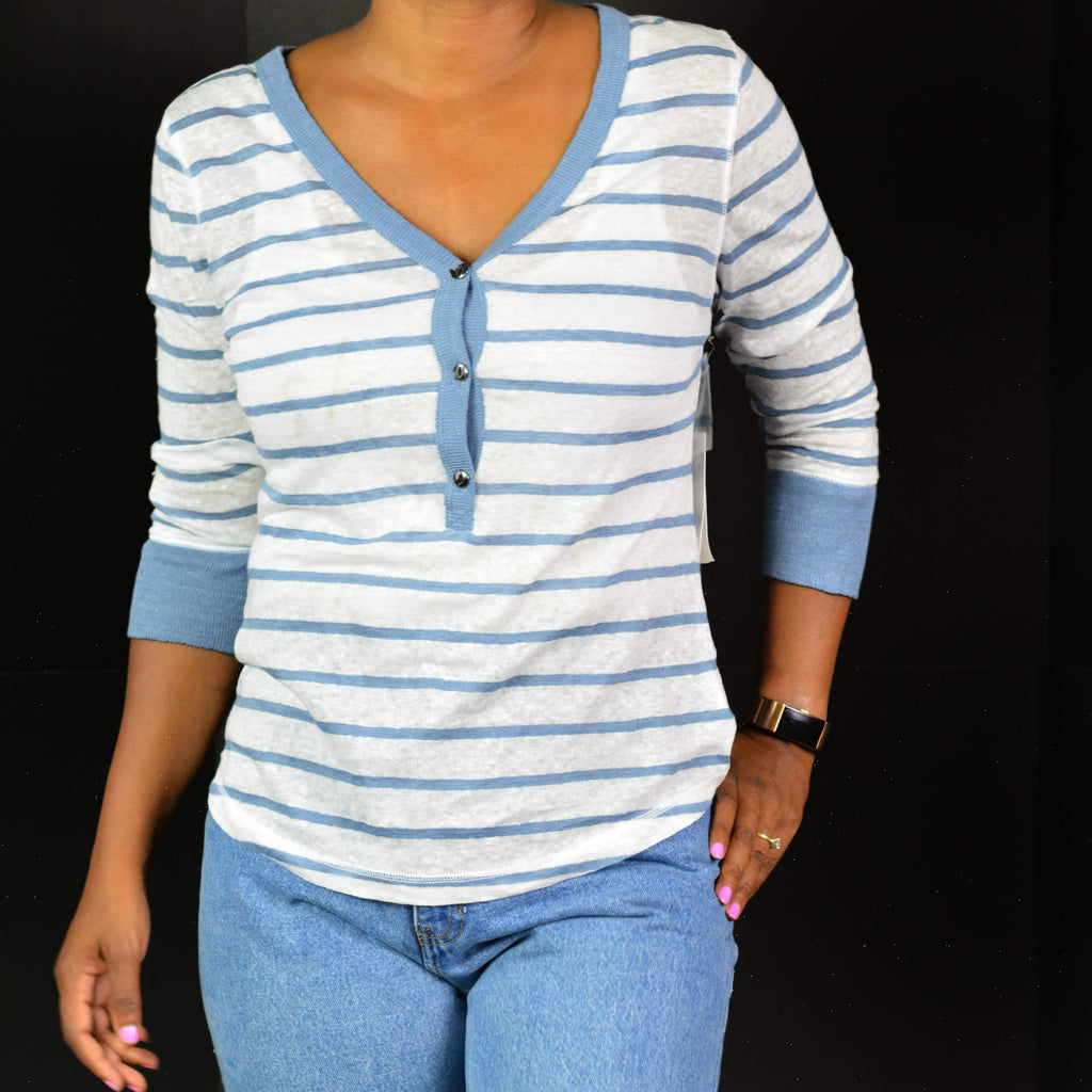 Striped Linen Henley Top Treasure & Bond Size Small NWT