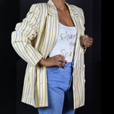 Vintage Christian Dior Jacket Striped Double Breasted Blazer Size Large