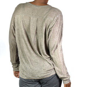 Vince Dolman Sleeve Henley Top Size Large